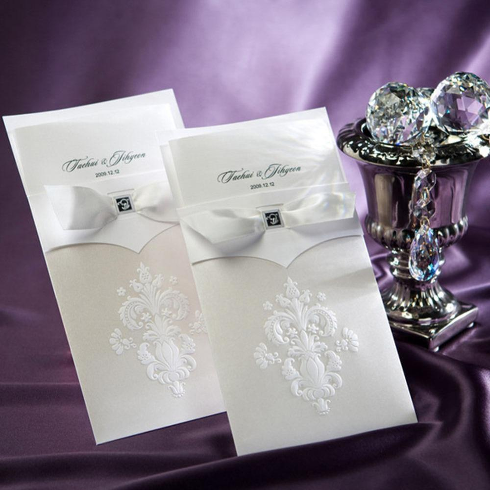 Wholesale White Bow Elegant Wedding Invitation Cards High Quality ...