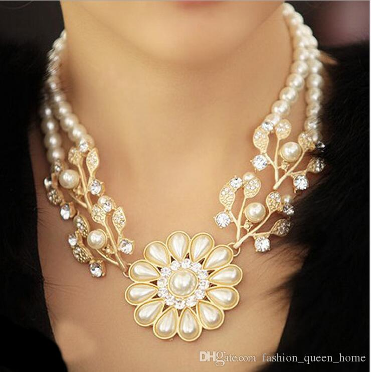 20pcs Crystal and pearl chokers Full Rhinestone Choker Necklace for Women  New Bijoux Maxi Statement Necklaces Collier Jewelry F341 167c0f5bc57f