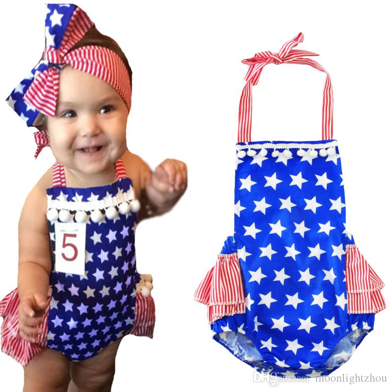 5ad42b90ff4e 2019 Baby Girl Romper Jumpsuit Outfit 2017 Summer New Tassel Stars Newborn  Rompers Fashion Stripe Halter Kids Infant Girl Clothes Outfit From  Moonlightzhou