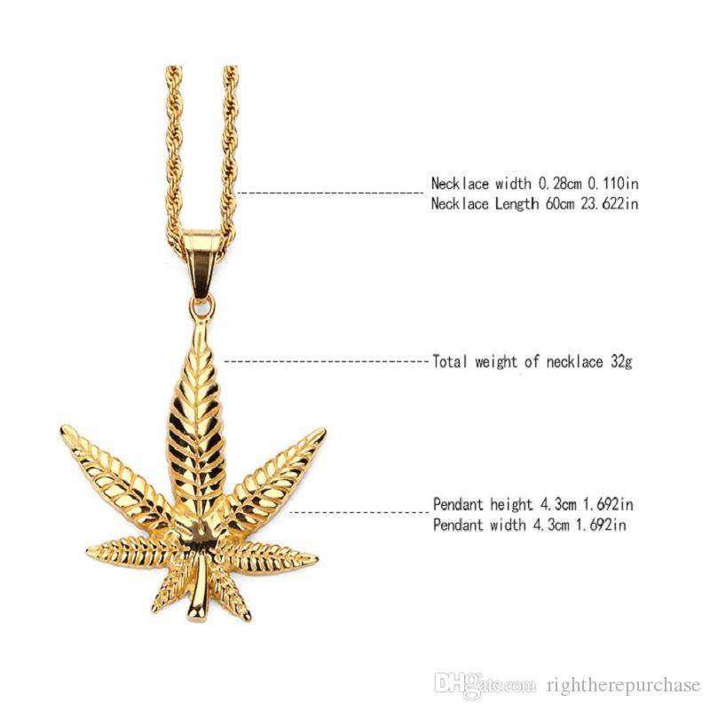 Fashion Charms Maple Leaf Pendant Necklaces Gold Plated Stainless Steel Personalized Design Filling Pieces Mens Womens Hip Hop Jewelry Gift