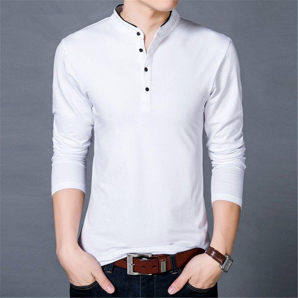 df3f60b6 T-Shirt Men 2017 Spring Autumn New 100% Cotton T Shirt Men Solid Color  Tshirt Mandarin Collar Long Sleeve Top Tees XZ-014 Men Tshirt Long Sleeve T  Shirt ...
