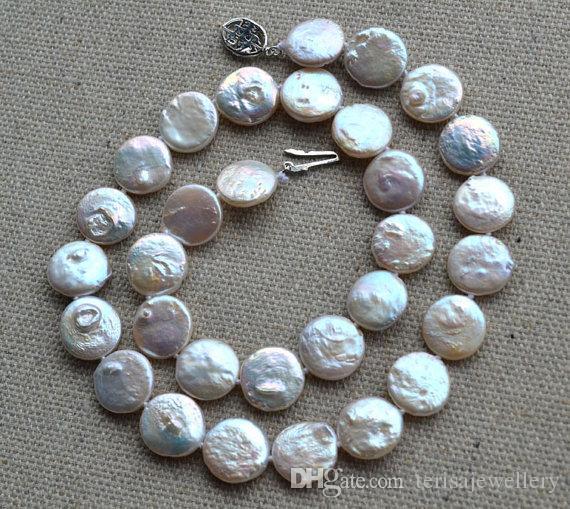 Charming Real Pearl Schmuck, Münze Perle 18 zoll 12-13mm Ivory Münze Süßwasser Perle Choker Halskette, Hochzeit Schmuck.