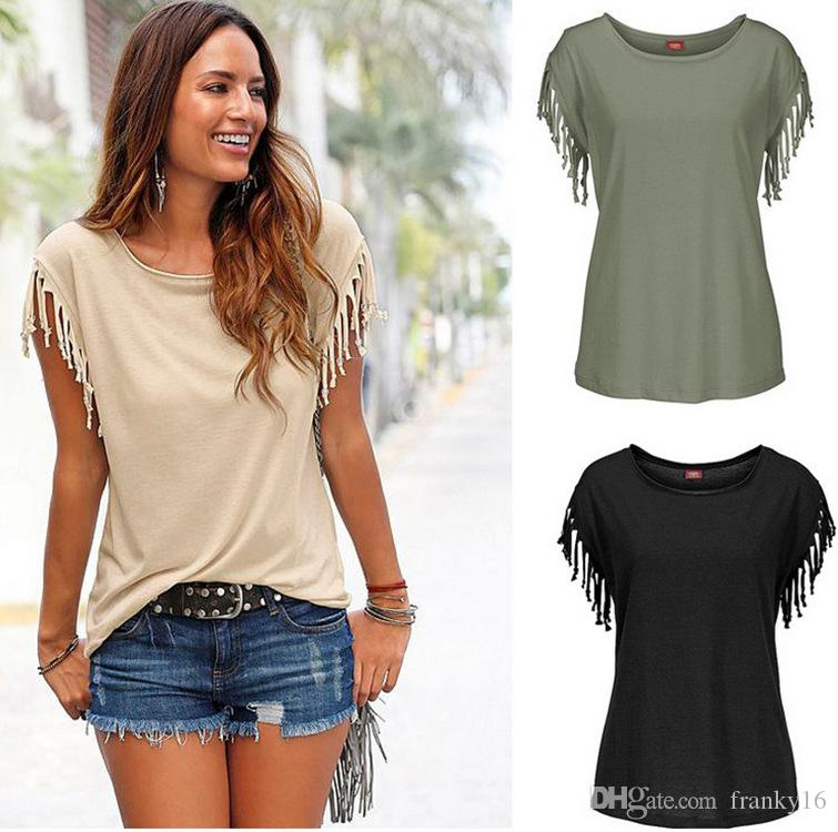 2bb415ce341c28 2017 New Fashion Lady T Shirt S 2XL Western O Neck Short Sleeve Cuffs Knot  Tassel Cotton Women Summer Tee Tops Online Funky T Shirts Buy T Shirt  Design From ...