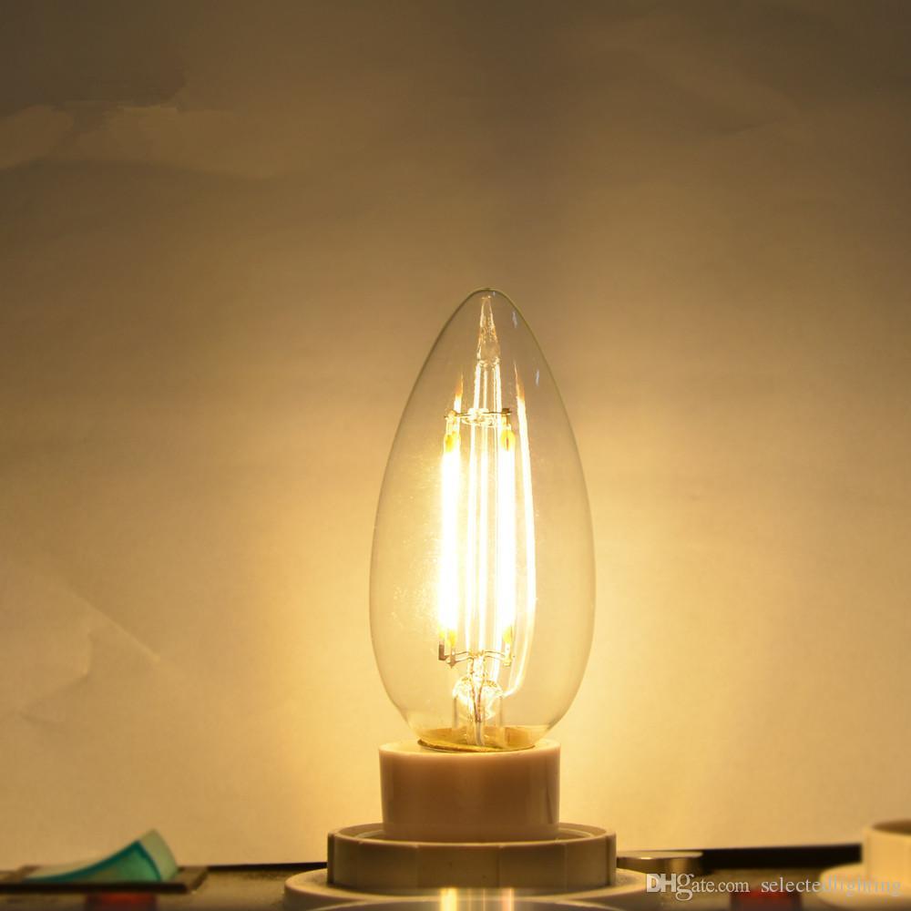 E14 E12 LED-LED 110V / 220V 4W LED Filament Birne Kerzenlicht Lampe Lampada LED Retro Edison Glas Kristall Kronleuchter