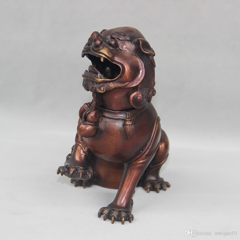 Chinese FengShui Bronze Foo Dog lion beast Statue incense burner Censer home decoration