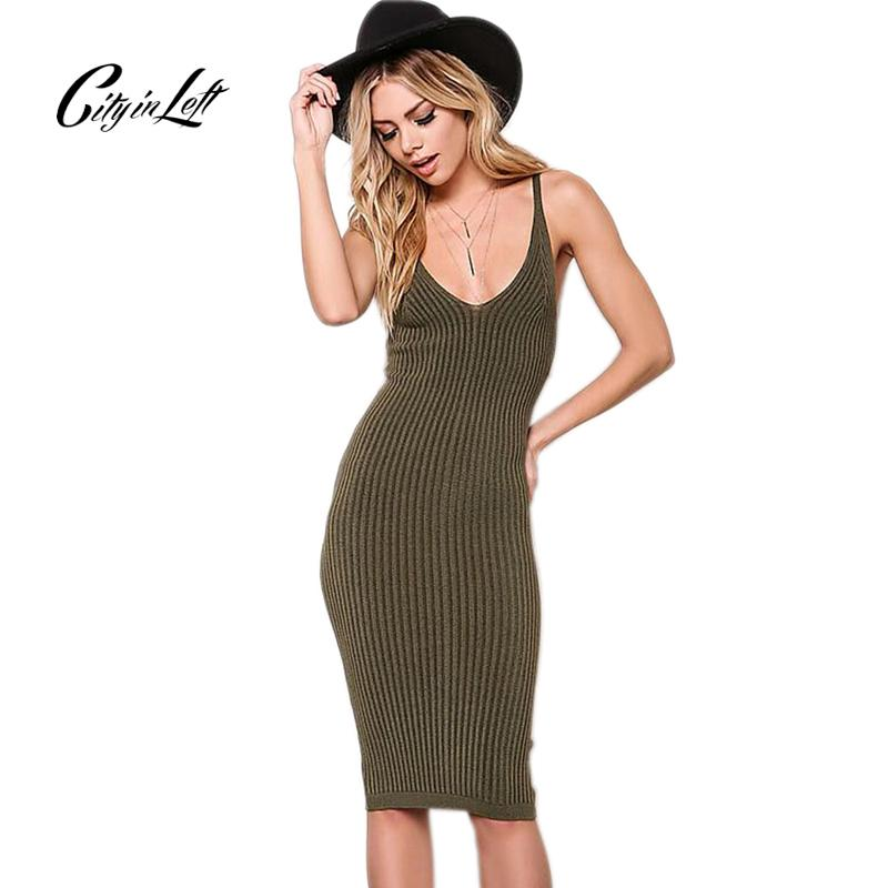 42dcdaa395b 2019 Wholesale City 2017 Women Sexy Slim Summer Dress Knitted Bandage  Plunge V Neck Backless Army Knitting Dresses Women Club Dresses 1048 From  Priscille