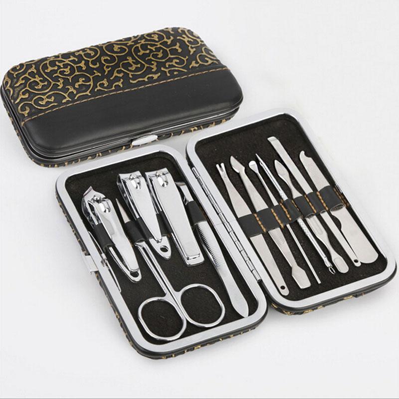 Ensemble de pédicure / manucure en acier inoxydable de haute qualité avec soin pour les ongles, tondeuses, kit de toilettage pour cuticules, avec étui en cuir