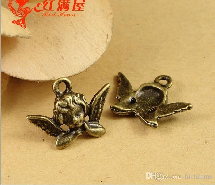 20*11MM Antique Bronze angel charms for bracelet, metal vintage flying fairy pendants for necklace, alloy jewelry making handmade materials