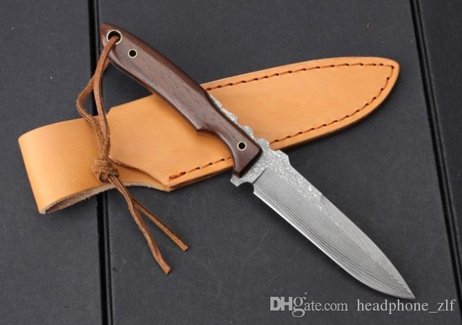 Drop Shipping Damascus Survival Straight Knife Wood Handle Outdoor Camping Hiking Hunting Fishing Fixed Blade Knives With Leather Sheath