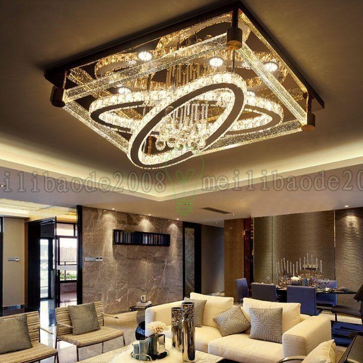 BE50 간단한 현대 크리 에이 티브 직사각형 천장 조명 타원형 LED 크리스탈 램프 거실 레스토랑 침실 호텔 천장 조명