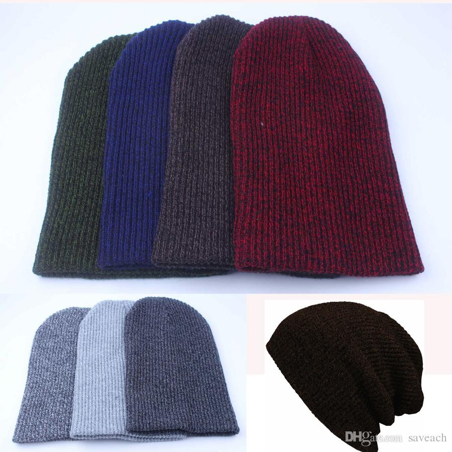 3ff641a496bb27 2016 Winter Casual Cotton Knit Hats For Women Men Baggy Beanie Hat Crochet  Slouchy Oversized Ski Cap Warm Beanies For Girls Baby Hat From Saveach, ...