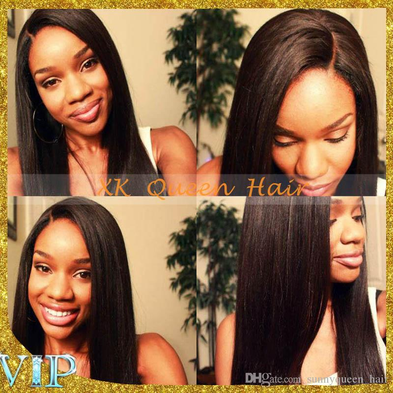 Malaysian Human Virgin Hair Light Yaki Full Lace Wig Bleached Knots Lace Front Human Hair Wigs For Black Women