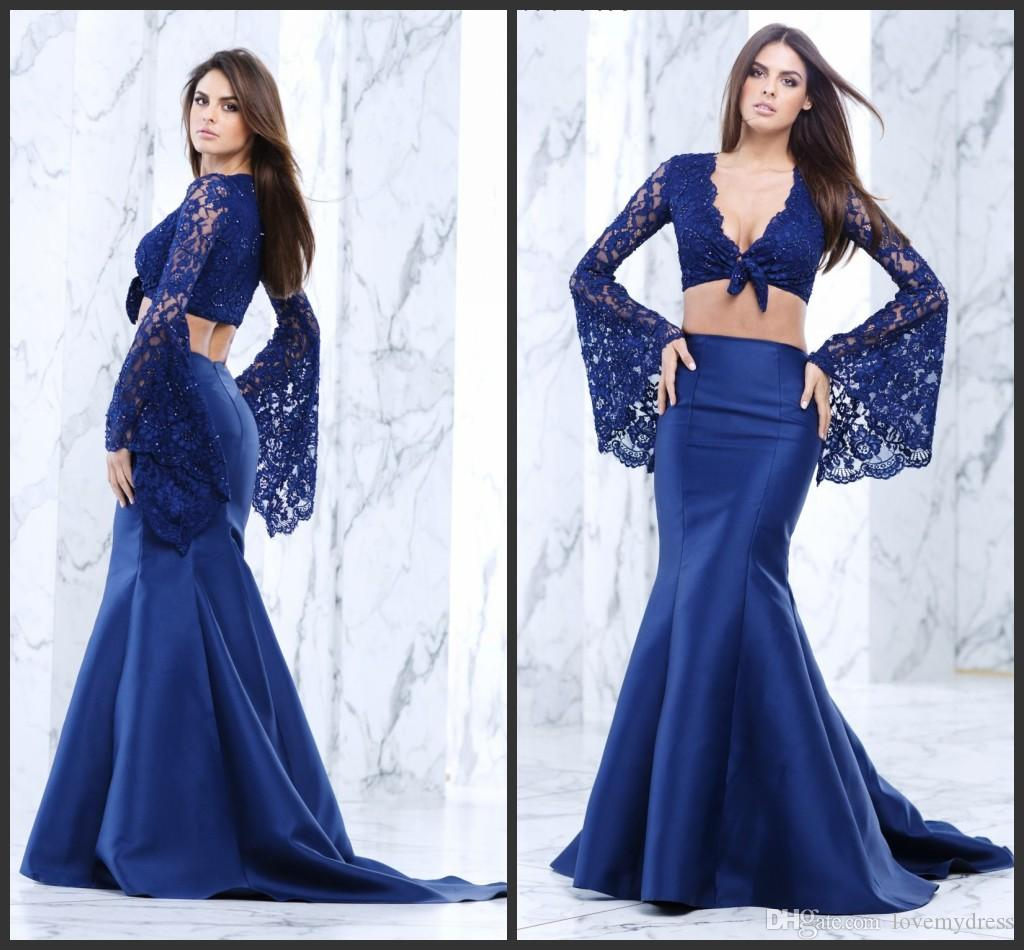 Blue Prom LOng Sweep Train V Neck Long Sleeve Sexy Design Beading Lace Two Pieces Dresses Mermaid Gown 2017 Beautiful Top Sale Modest