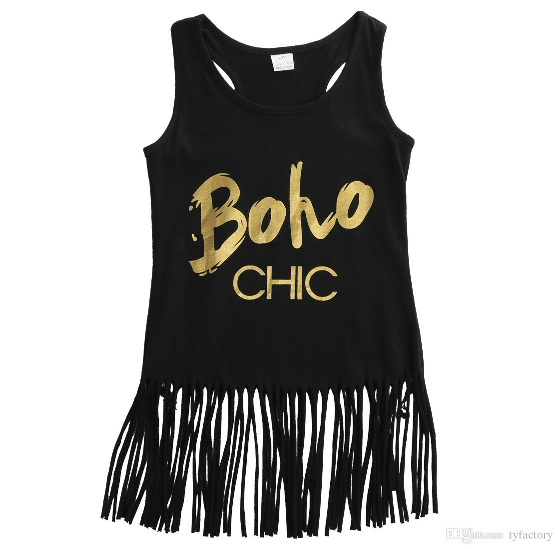 australian business letter format%0A      Black Sleeveless Girls T Shirt Tassel Style Gold Letters Boho Print  Lovely Fashion Children Summer Clothing T Shirts Kids Tops From Tyfactory