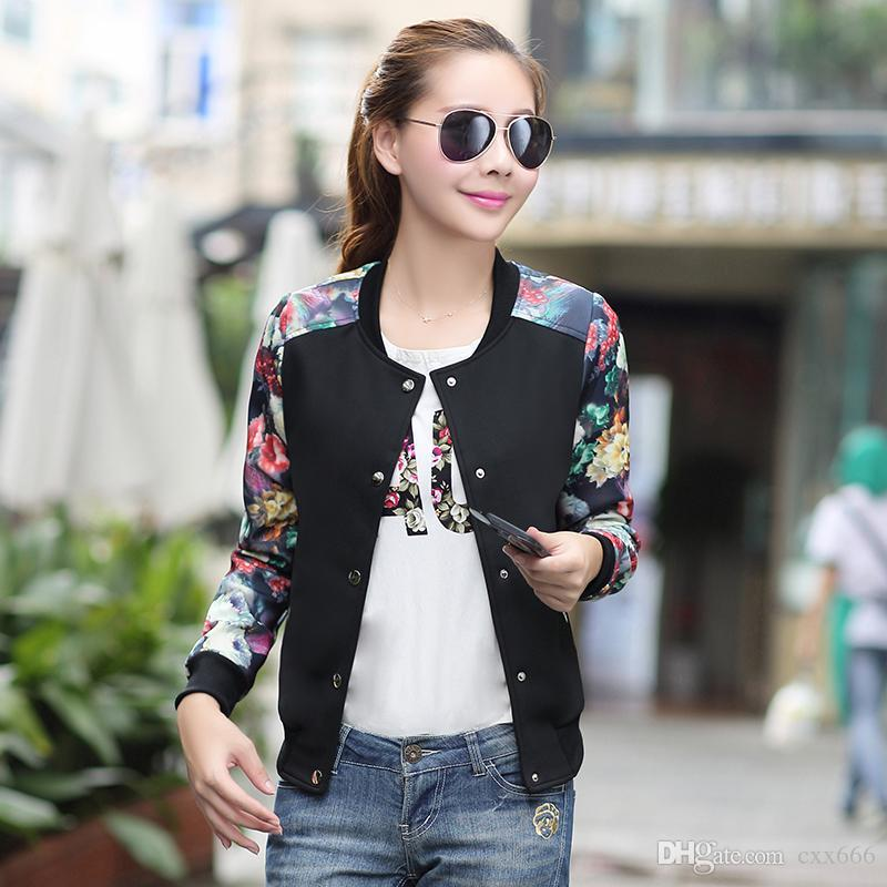 6089feacf94 2017 Brand Tops Flower Print Girl Plus Size Casual Baseball Jacket Women  Sweatshirt Button Thin Bomber Long Sleeves Coat Jackets Shearling Jacket  Leather ...