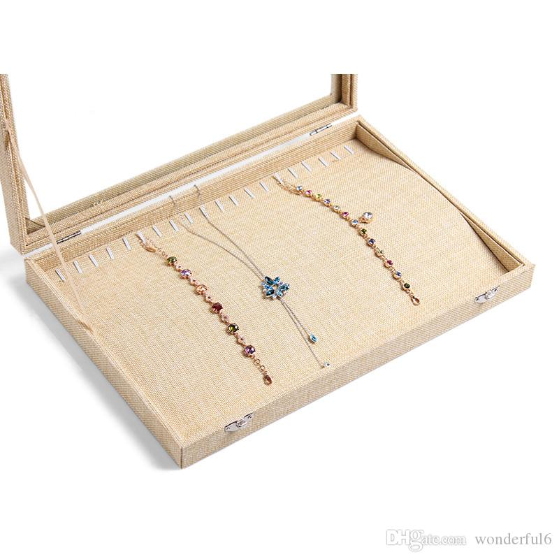 New Linen Necklace Box Jewelry Chain Pendants Case Jewelry Decoration Necklace Shelf Showcase Pendants Plate Display Case