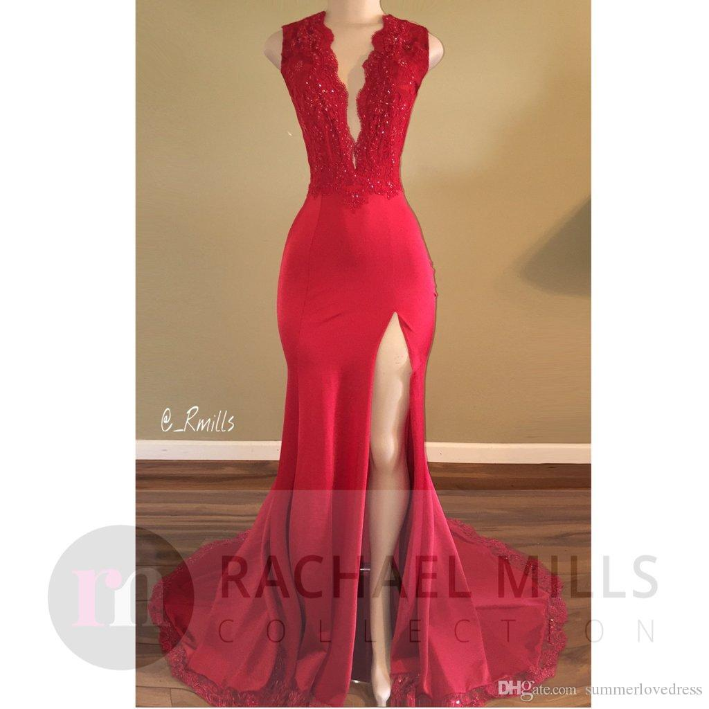2017 New Red Plunching V Neck Satin Mermaid Long Prom Dresses Lace Applique Beaded Backless Floor Length Formal Party Evening Dresses