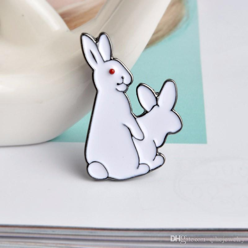 Animal mignon blanc lapins émail broche épingles chapeau chemise en denim veste décor fête bal femmes hommes accessoires
