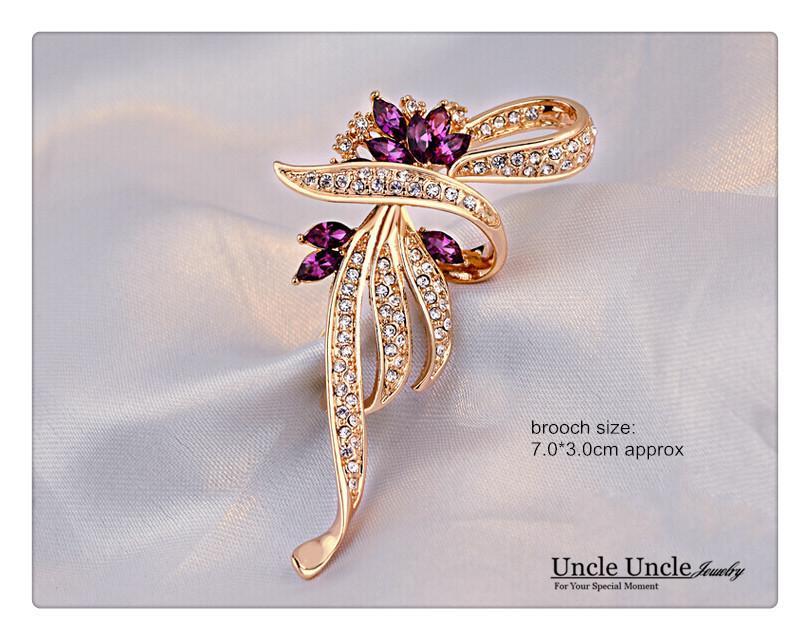 Rose Gold Color Crystal Rhinestone Setting Classic Kaffir Lily Design Flower Lady Brooch Purple/Blue Wholesale