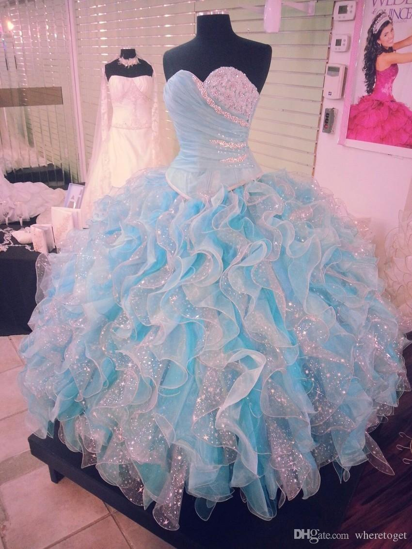 Real Image Crystals Quinceanera Dresses Sweetheart Neckline Cascading Ruffled Skirt Masquerad Ball Gowns Organza Beaded Debutante Dress
