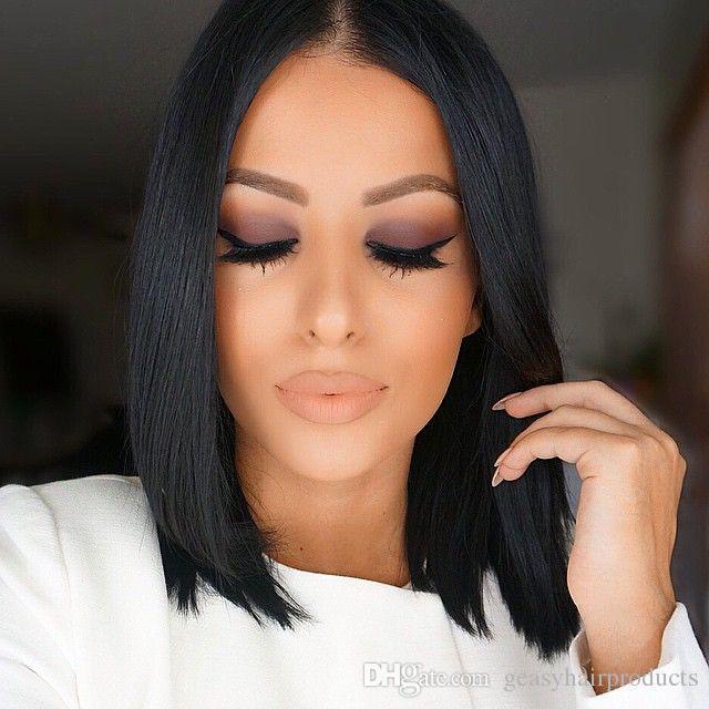 Bob wigs for black women virgin brazilian yaki straight lace front wigs u part wigs G-EASY DHL FREE