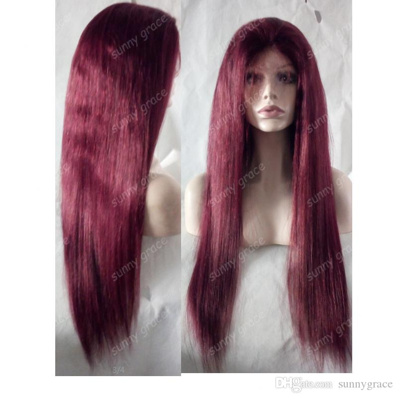 Long silky straight 99j European human hair lace front wig with wholesale price dark red with baby hair