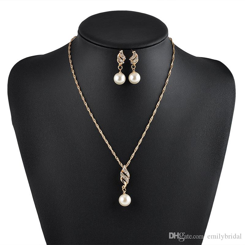 Chic Elegant Wedding Bridal Jewelry Sets Gold Imported Prom Party