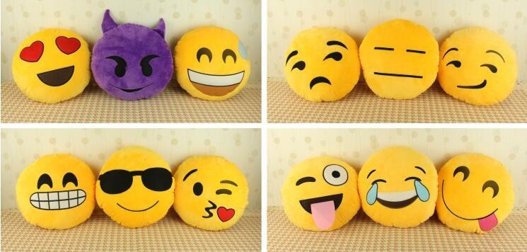 Bed Home Office Car Emoji Smiley Smile Emoticon Yellow Round Cushion Pillow Stuffed Plush Doll Soft Toy