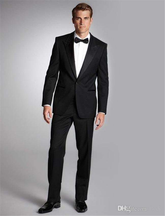 Cheap Black Wedding Tuxedos 2017 Two Piece Peak Lapel Groom Mens ...