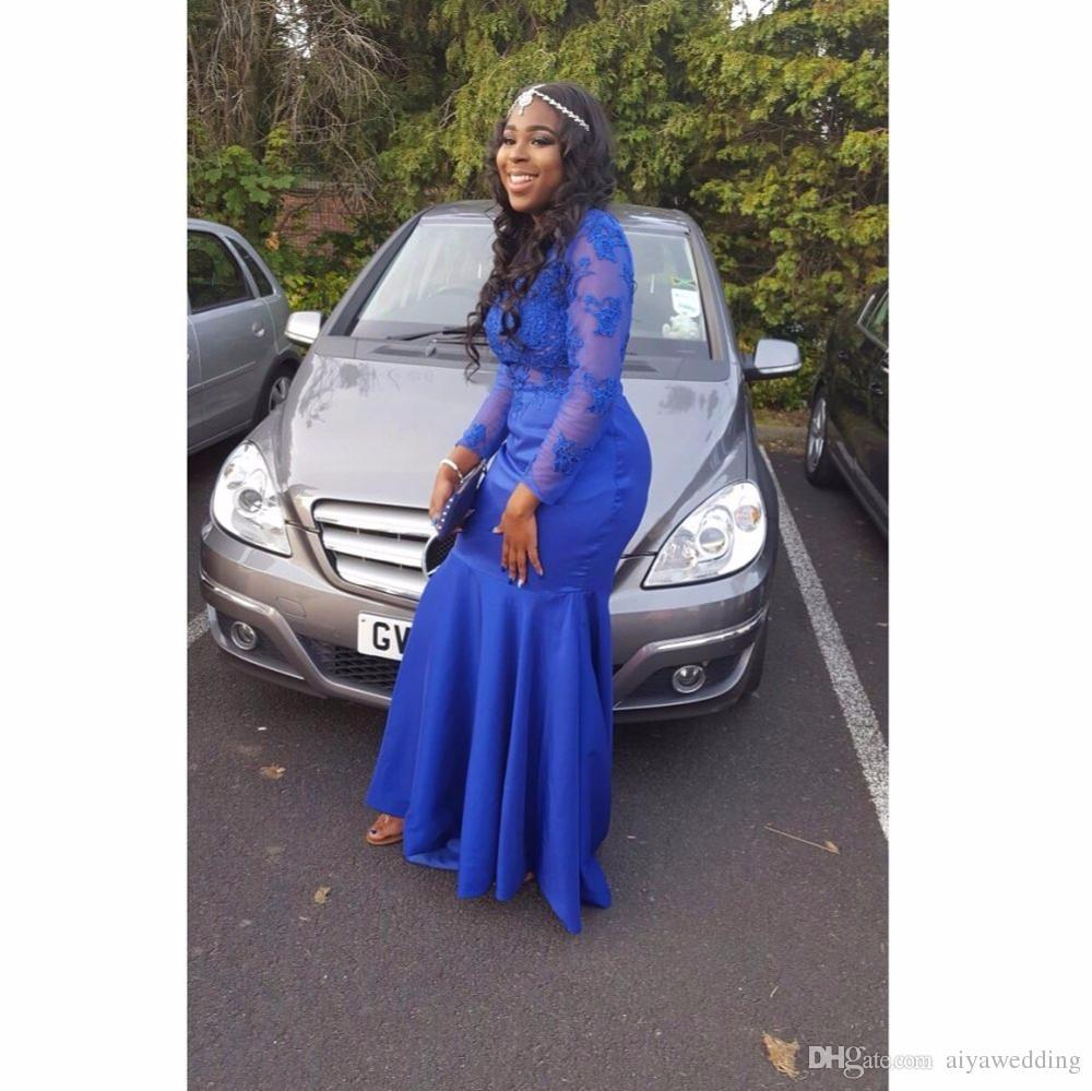 Uzun Gelinlik Modelleri 2019 Sheer O-Boyun Aplike Uzun Kollu Kat Uzunluk Streç Saten Kraliyet Mavi Mermaid Balo Elbise