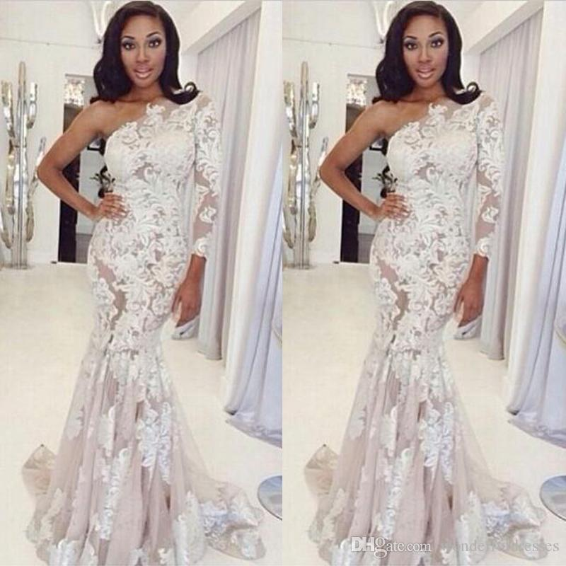 White Lace Mermaid Gown: 2017 White Lace Mermaid Evening Dresses One Shoulder Long