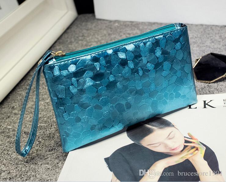 Free DHL Ladies Leather Crocodile Pattern Clutch Handbags Designer Sequins Makeup Cosmetic Bag Fashion Women Phone Coin Purse Wallet