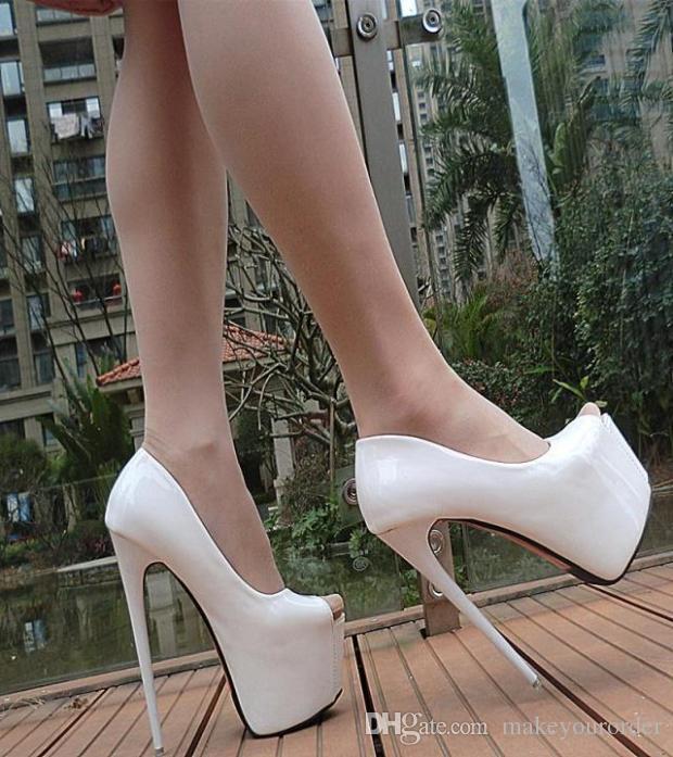 Toptancı ücretsiz kargo fabrika klasik peep toe gizli seksi platform yüksek topuk kırmızı renk 17 cm patent weddingg ayakkab ...