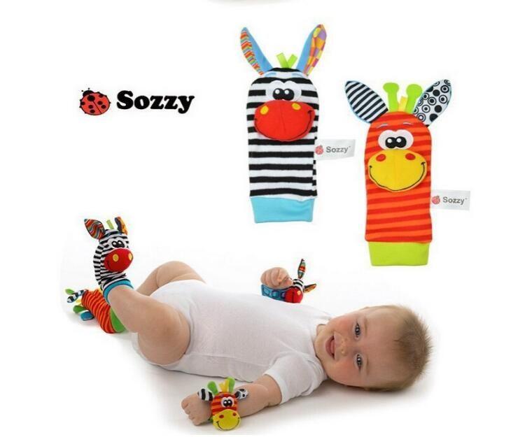 Sozzy Bebek Bebek Oyuncak Yumuşak Handbells El Bilek Kayışı Çıngıraklar Hayvan Çorap Ayak Bulucu Doldurulmuş Oyuncaklar Noel Hediyesi