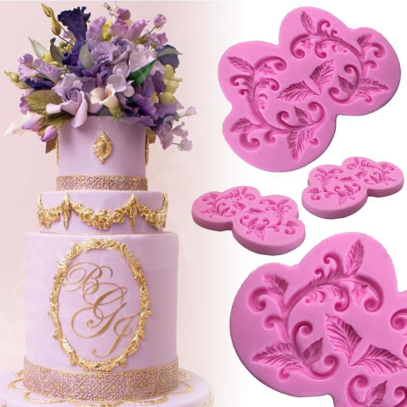 Mayitr Border Flower Lace Cake Mold Cake Decorating Tools DIY Silicone Fondant Sugar Lace Pad Baking Tools 5.3*0.7cm Random