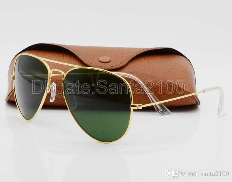 1pcs High Quality Classic Pilot Sunglasses Designer Brand Mens Womens Sun Glasses Eyewear Gold Metal Green 58mm 62mm Glass Lenses Brown Case