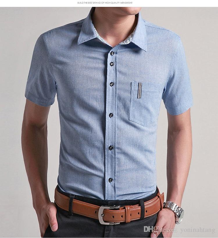 Wholesale Summer Men's Linen Shirts Tops Solid Color Dress Short Sleeve Shirts Blue Casual Linen Man size M-6XL