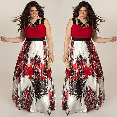1d98041fb0b6e Wholesale- USA Plus Size Sexy Women Summer Boho Maxi Long Dress Evening  Party Beach Dress Floral V neck Long Dress