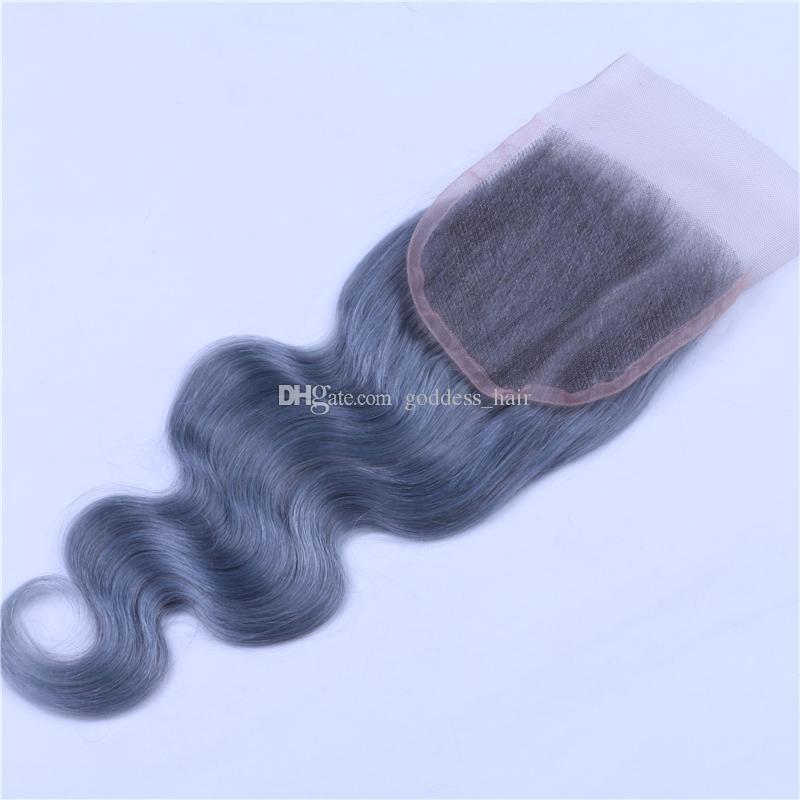 Brasileño # Gris Color Cuerpo Onda del pelo de la onda con el cierre del cordón 9A Virgin Top del cordón del pelo humano Cierre 4x4 con la extensión del pelo /