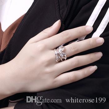 Al por mayor - Regalo de Navidad al por menor precio más bajo, envío gratis, nuevo anillo de plata 925 moda R35