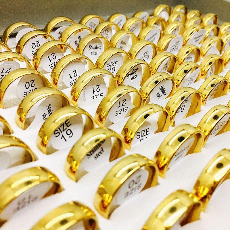 All'ingrosso Lotti Golden Mens Womens Moda Moda Acciaio In Acciaio Inox Anelli di Brand New Engagement Wedding Ring
