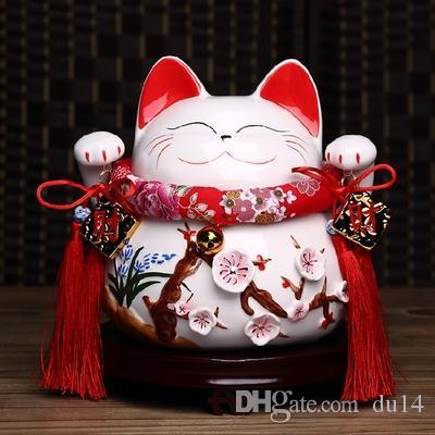 Lucky Cat ornements véritable or grande céramique japonaise ouverte boutique cadeau créatif 10 pouces