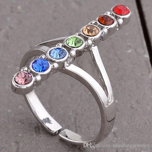 Anéis de casamento 7 Chakra Contas de Pedra Naturais Anel Ajustável Para As Mulheres Encantos Ametista Onyx etc Acessórios Jóias Da Moda Europeia