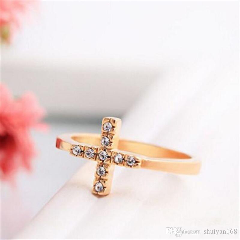 Diamond Rings Christian Rhinestone Cross Finger Rings for Women DHL  Cocktail Gemstone Ring 18K Gold Size Women s Gift Trend Jewelry