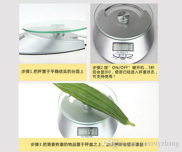 Kitchen Scale 5KG/1g LCD Display Digital Bowl-shape Scale Household Kitchen Weight Tool