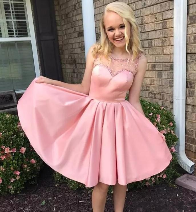 Princess Pink Short Party Dresses Sheer Neck Beads Crystals Backless Homecoming Dress Satin A Line Formal Yong Girls Wear Cheap Prom Dress