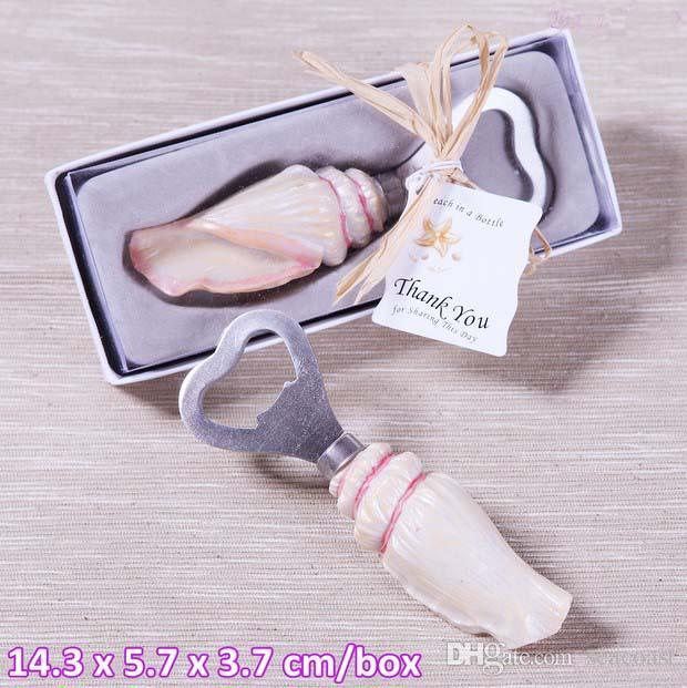 Sea Shell Openers Seashell Bottle Opener Sand Summer Beach Theme Shower Wedding Favors Gift in Gift Box