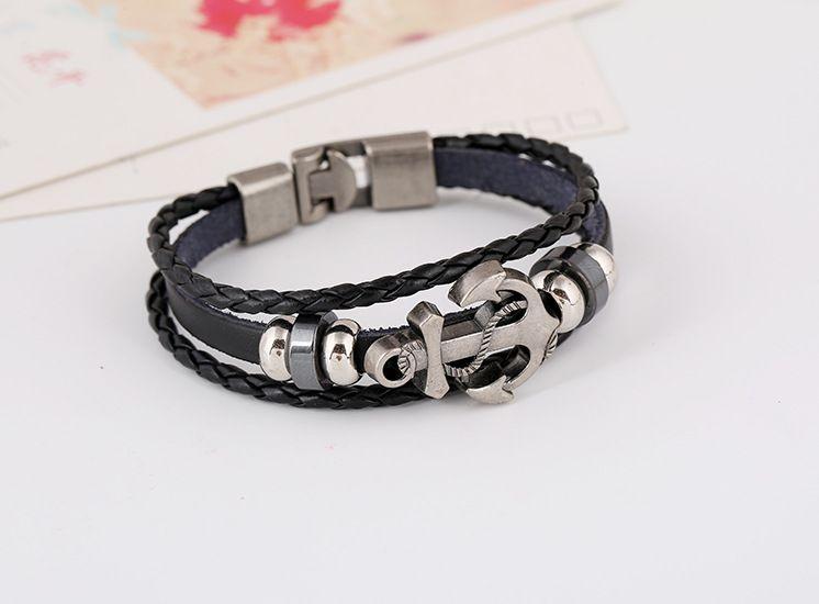 Modeschmuck DIY leder Perlen Armbänder für männer Mode Charme Schmuck Punk Wachs Seil Manschetten Armreifen Anker Multilayer Legierung Armband
