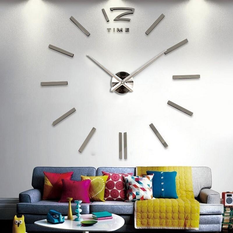 diy wall clock new fashion 3d super big size mirror wall sticker