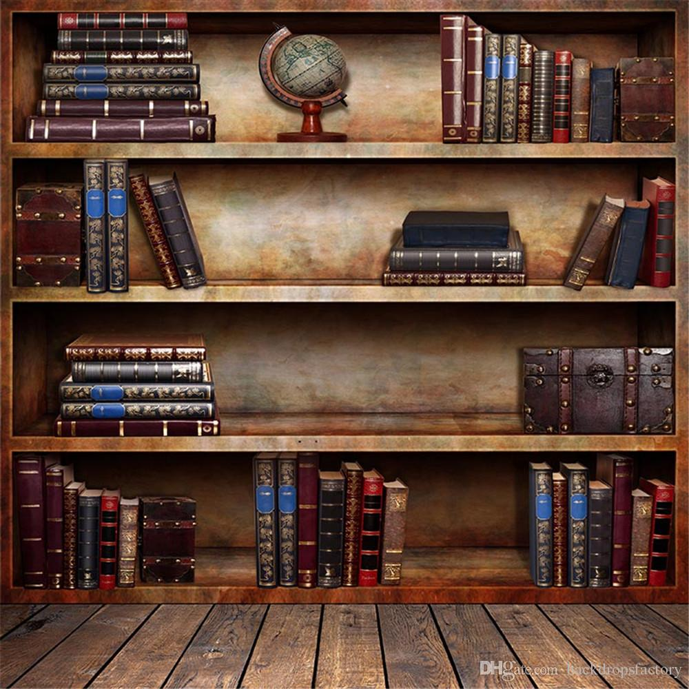2017 5x7ft Vintage Bookshelf Graduation Season Photography Backdrops Wood  Floor Retro Style Children Picture Background For
